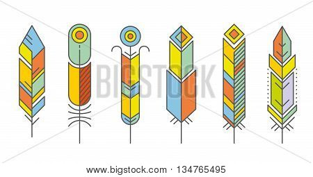 Abstract feather color icons. Feather bird ecoration, beauty feather geometric, pattern geometric feather. Vector illustration
