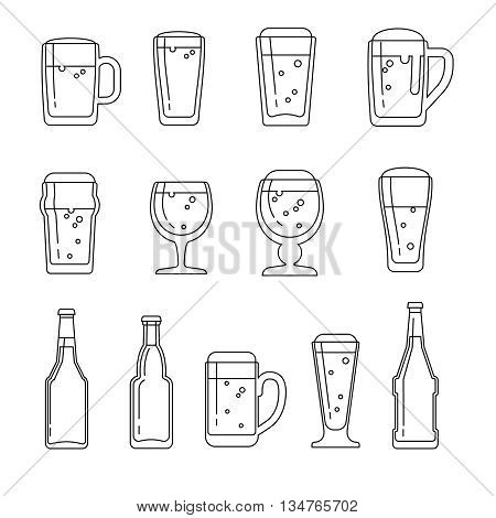 Beer vector line icons. Beer icon, beer beverage, glass bottle beer, beer mug illustration