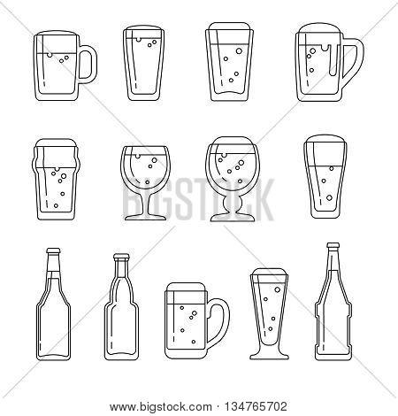 Beer vector line icons. Beer icon, beer beverage, glass bottle beer, beer mug illustration poster