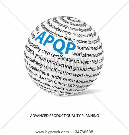 Advanced product quality planning word ball. White ball with main title APQP and filled by other words related with APQP method. Vector illustration