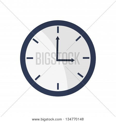 blue simple clock pointing three oclock vector illustration isolated over white