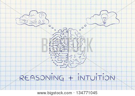 Circuits & Human Brain With Thought Bubbles, Reasoning Plus Intuition