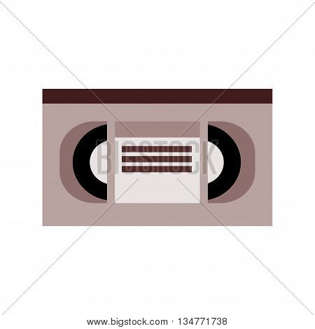brown and grey videocassette with title tag in the center vector illustration isolated over white
