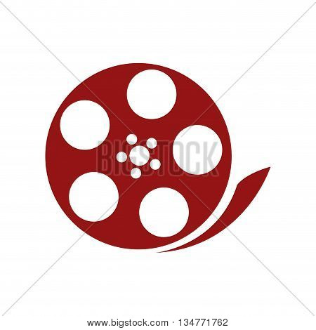 red film reel vector illustration isolated over white