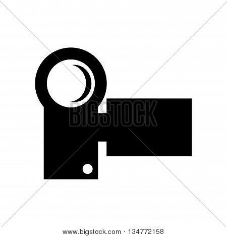 black small modern videocamera frontview vector illustration isolated over white