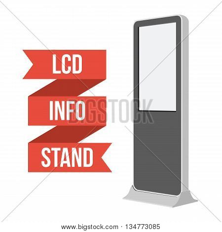 LCD TV Info Floor Stand. Blank Trade Show Booth. Vector illustration of kiosk machine isolated on white background. Ad template for your expo design with ribbon banner text.
