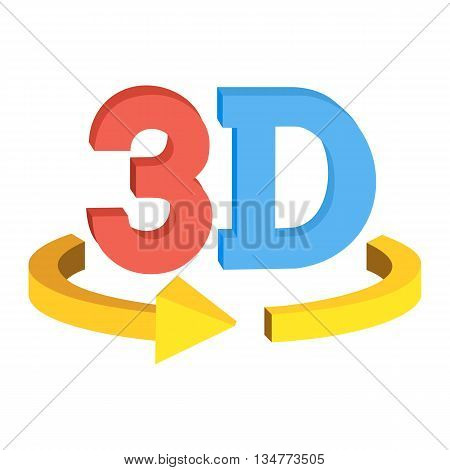 3D rotate button sign icon in red and blue color isolated on white background. Yellow horisontal rotation arrow. Vector illustration.