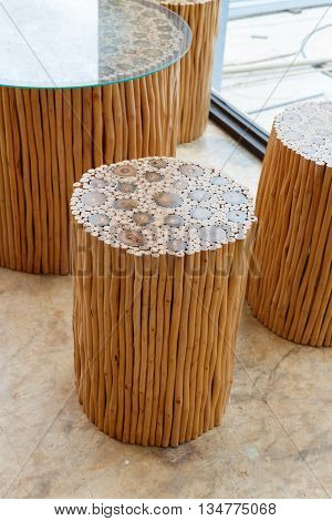 handcraft furniture of wooden chair and table made from wood stick