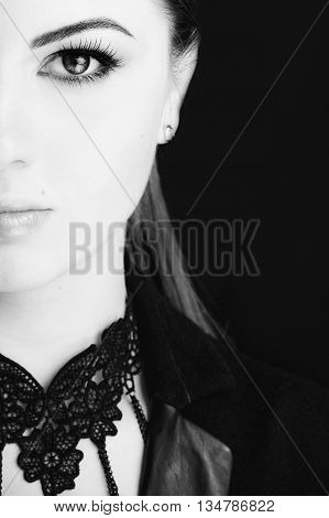 Emotional Portrait Of A Young Beautiful Girl Expressing Fear, Anger, Crying, Posing Over Black Backg