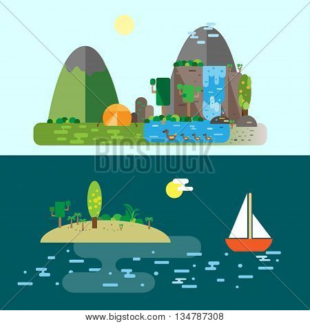 Eco-tourism. Nature landscapes - camping in mountains sailing in tropics. Can be used for blogs travel sites ad flyers banners etc.