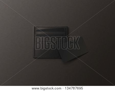 Leather card holder with blank black card mock up isolated. Business credit cards mockup in sleeve cardholder pocket. Clear paper visiting id cards in grey wallet box. Logo design presentation.