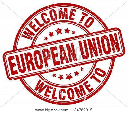welcome to european union stamp. welcome to european union.