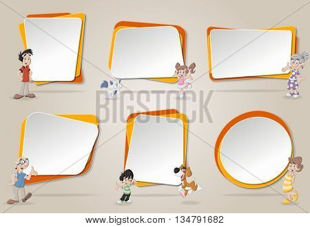 Vector banners / backgrounds with cute happy cartoon family with pets. Design text box frames.