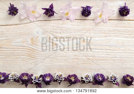 Frame with flowers on white wooden background.