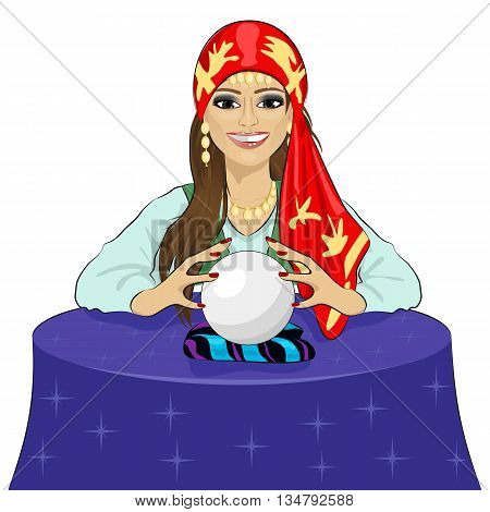 Beautiful fortune teller woman reading future on a magical crystal ball