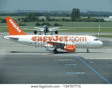 PRAGUE CZECH REPUBLIC- CIRCA JUNE 2016: Easyjet aircraft type Airbus A319-111 on the runway