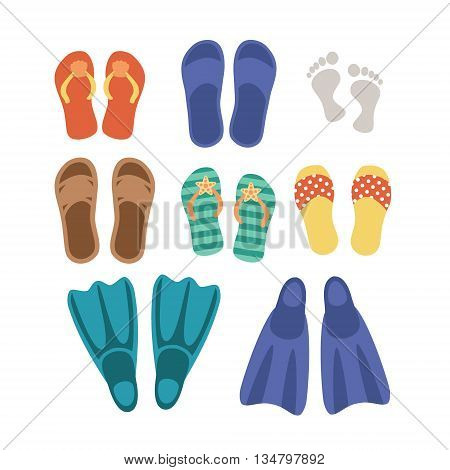 Beach footwear set isolated on white background. Icon pictogram. Art vector illustration.