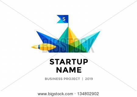 Logo for startup project with inscription Startup Name - Business project. Logo template of colorful paper boat. Business concept and identity symbol. Startup graphic design concept. Vector Illustration