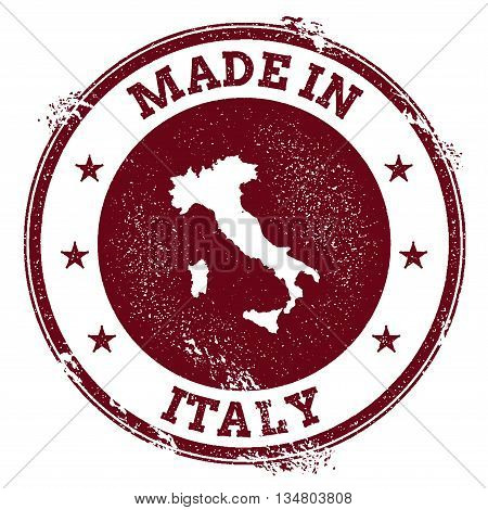 Italy Vector Seal. Vintage Country Map Stamp. Grunge Rubber Stamp With Made In Italy Text And Map, V