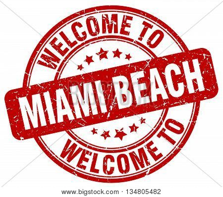 welcome to Miami Beach stamp. welcome to Miami Beach. poster