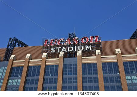 Indianapolis - Circa June 2016: Lucas Oil Stadium. Lucas Oil is a Sponsor of the Indianapolis Colts
