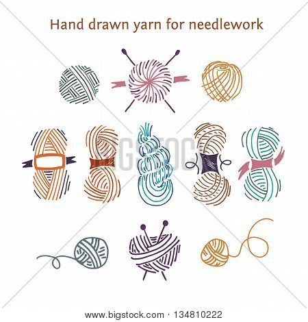 Vector Color Set Skeins Of Different Forms. Outline Style.hand-d