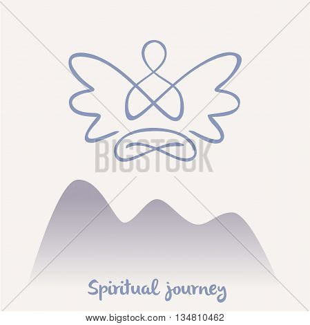 Vector Symbol Of Yoga, Meditation, Spirituality. Angel.meditatio