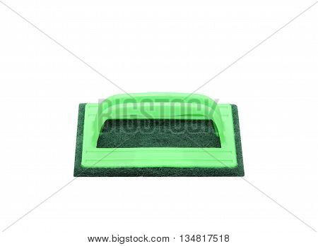 Hand holding and cleaning with brush scrubber isolated on white background