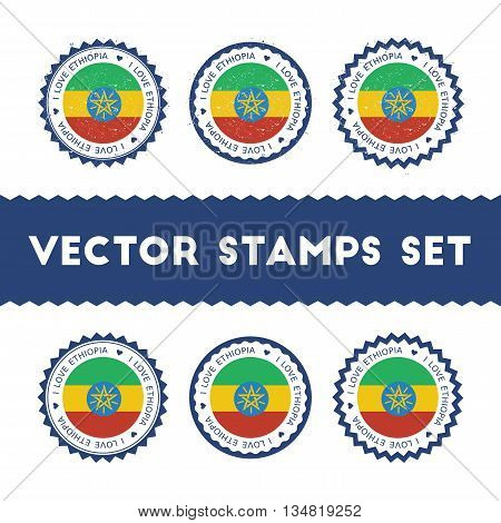 I Love Ethiopia Vector Stamps Set. Retro Patriotic Country Flag Badges. National Flags Vintage Round