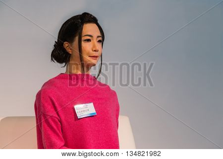 TOKYO, JAPAN - NOVEMBER 27 2015: Otonaroid or adult android created after a real human being displayed in a hall of Miraikan, The National Museum of Emerging Science and Innovation in Odaiba area