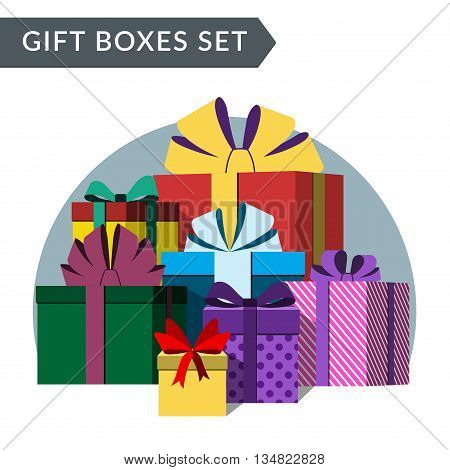 Big pile of colorful wrapped gift boxes. Lots of presents. Flat style. Christmas surprises ribbons and bow isolated on white background. Symbol birthday anniversary celebration. Vector illustration
