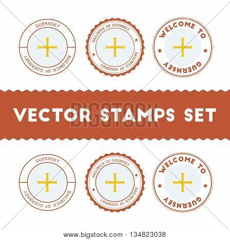 Channel Islander Flag Rubber Stamps Set. National Flags Grunge Stamps. Country Round Badges Collecti