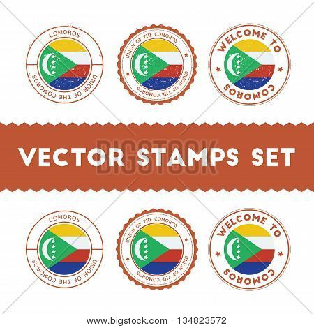Comoran Flag Rubber Stamps Set. National Flags Grunge Stamps. Country Round Badges Collection.