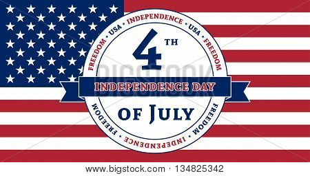 American flag symbol for 4th July Independence Day celebration. Patriotic Typography Graphics. National printing design. Fashion Print sportswear apparel t shirt card banner. Vector illustration