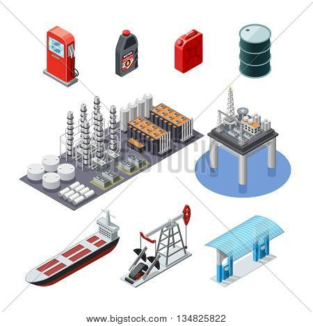 Oil industry isometric icons collection with pump jack tanker canister and sea platform abstract isolated vector illustration