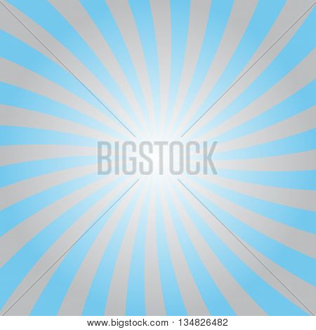 Blue and gray rays poster. Popular ray star burst background television vintage. Blue-gray abstract texture with sunburst flare beam. Retro art design. Sun glow bright pattern Vector Illustration