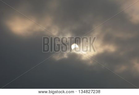 solar eclipse on sky in dull day