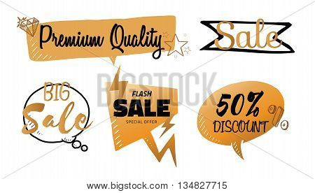 Vector set of talk and think bubbles sale group of sale speech bubbles for business discount percent