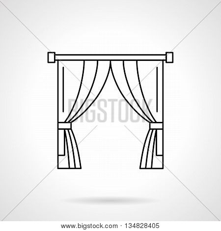 Abstract sign of theater curtain. Scene clothing element. Premiere show. Curtains, drapes and blinds, textile interior design. Flat line style vector icon.