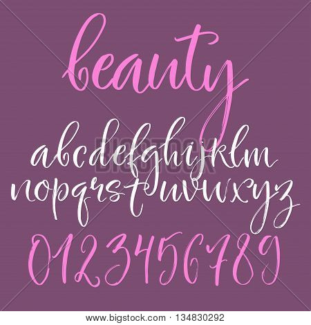 Calligraphic english alphabet. Brush written lowercase letters and numbers.