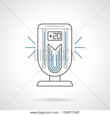 Portable climatic technics for home and office. Air ionizer. Equipment and appliances improving indoor air. Flat black and blue line vector icon. poster