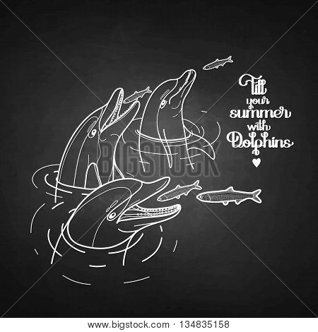Graphic feeding dolphins. Dolphins in the water catching fish. Summer mood. Vector art isolated on chalkboard. Sea and ocean vector creatures in black and white colors