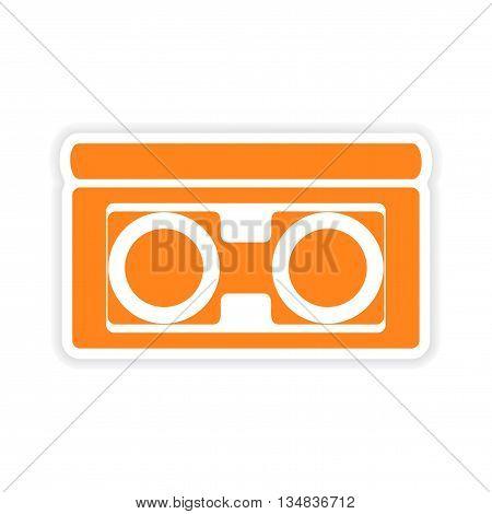 icon sticker realistic design on paper videocassette