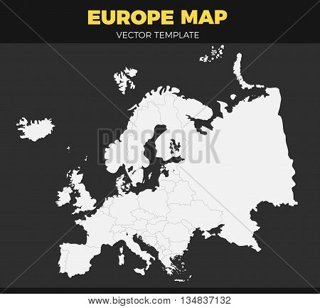 contour Europe map design Vector Illustration. Empty template without country names. Isolated white vector map on black background
