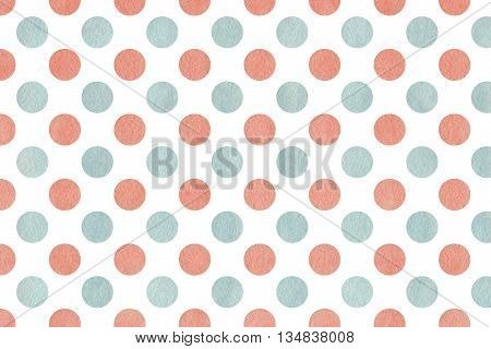 Watercolor Pink And Blue Polka Dot Background.