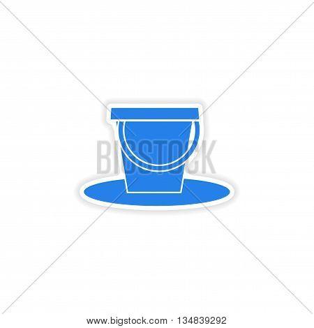icon sticker realistic design on paper pail