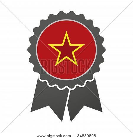 Isolated Award Badge With  The Red Star Of Communism Icon