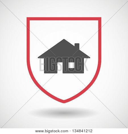Isolated Line Art Shield Icon With A House