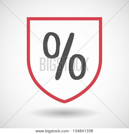 Isolated Line Art Shield Icon With A Discount Sign