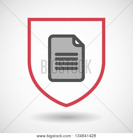 Isolated Line Art Shield Icon With A Document